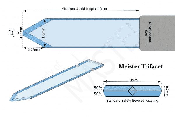 Paracentesis   Diamond Opthalmic Blade   Meister Trifacet